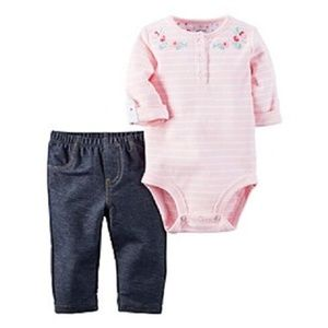 Carter's Pink Embroidered Bodysuit & Jeans